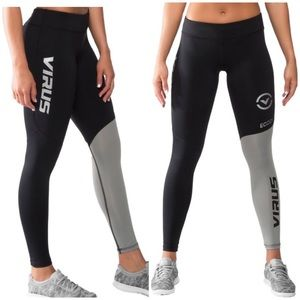 Virus black & grey compression leggings sz small